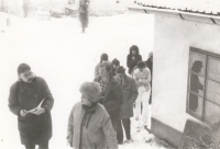 Miloslav Trégl při návštěvě Občanského fóra v pečovatelském domě ve Štěkni (prosinec 1989)