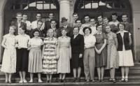 Fotografie se spolužáky před maturitou 1953