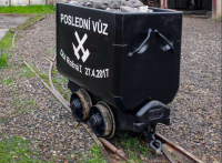 The last extracted mine car from the Rožná 1 mine