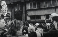 Jan Zima (totally on left) taking part in demonstration in Prague in January 1989. Publication ČESKOSLOVENSKO '89, Panorama