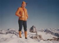 Magda na horách, první výstup na Cima Gragnetta, 1975