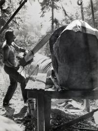 Zdeněk Macháček při práci na plastice Člověk a příroda s prototypem české motorové pily Bobr vážící 20 kg; foto Josef Tichý, 1968