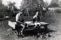 Karel Pexidr with Ludmila Křížková, his wife-to-be; Vícov, 1946