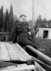 Karel Pexidr in an Auxiliary Technical Battalions (PTP) uniform; 1951