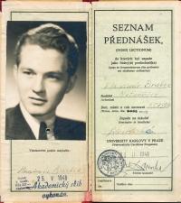 Vysokoškolský index Vladimíra Brabce z FF UK