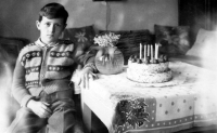 Vladimír Šiler during the celebration of his 7th birthday in 1957