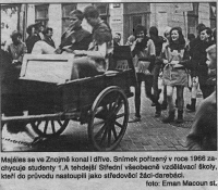 Students of the Secondary General Education School in Znojmo during the Majáles. The school was also studied by Vladimír Šiler / image made in 1966