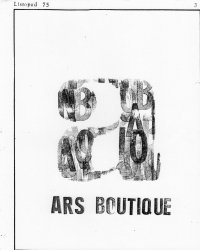 Title page of the cultural samizdat Ars Boutique published by Vladimír Šiler, Jiří Plotzer and others in 1975