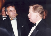 Václav Havel in a conversation with Pavel Jajtner during the Prague - Vienna Ball at the Spanish Hall of Prague Castle, January 1994