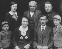 The family of his grandfather, Ludvík Rymeš, in 1935. From the left: uncle Václav, born 1929, mother Marie, born 1919, grandmother Marie, born 1890, great grandfather František Hintnaus, born 1852, grandfather Ludvík, born 1882, uncle František, born 1914, uncle Ludvík, born 1927