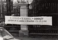 První porevoluční výstava Romana Karla na zámku v Bruntále s Bolkem Dobošem (Zlaté Hory)