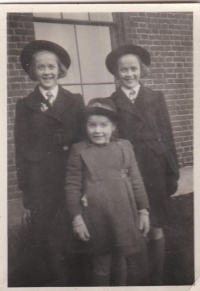 Barbara Gartside (Day) with twin sisters Margaret and Joan, c. 1949