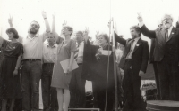 Election campaign in 1990, ZB second on the left (right V. Komárek, I. Havel and V. Chramostová)