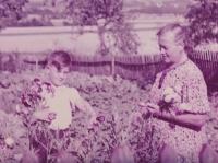 """Václav Tuček na zahradě v padesátých letech s babičkou Marií. """"S babičkou jsem dělal všechno, když byl táta pryč. Chodili jsme spolu do lesa na dříví,"""" vzpomíná Václav Tuček"""