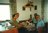 Jan Graubner (left front) with Cardinal Miloslav Vlk (right front), Bishop František Radkovský (left rear) and Bishop Joachim Reinelt of Dresden (right rear), on vacation in South Bohemia (1990s)