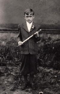 Before his first communion, Ostrava-Kunčičky, 1951