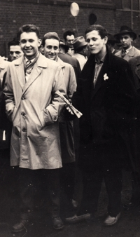 Jiří Lexa (on the left) in a marshalling area of the May Day parade, Plant 6 of the Vítkovice Klement Gottwald Ironworks in Ostrava, circa 1958