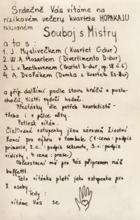 Pozvánka na bytový koncert kvarteta Hopakaju (Holický, Pavlík, Kaplan, Juna), 1976