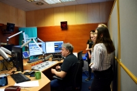 Students at the radio station working on a documentary