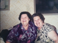 Alžbeta´s mother Helena with her sister Eva, Levice, 1990s.