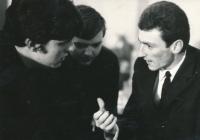 Mládežnický kongres, Olomouc, duben 1969, zprava: Miroslav Tyč, Jan Tauber, František Hrdlička