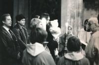 The baptism of Jana Patočková with godparents Václav Havel and Václav Malý, 1987