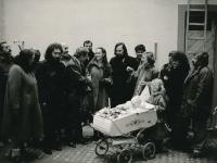 The baptism of Jana Patočková with godfathers Václav Havel and Václav Malý, 1987
