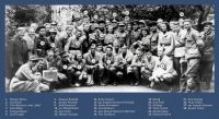 Fotografie členů partyzánského oddílu Smrt fašismu, pod číslem 9 bratr Marie Turkové Adolf Kratochvíl