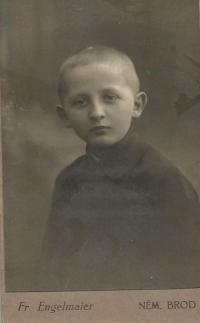 Otakar Hromádko, otec Jiřiny Novákové, Německý Brod, 1914
