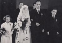 Svatba Borškových, 17. 1. 1954, svědci: Pepa Mádl, Eduard Klein, družička: Zdenka Bittnerová, mládenec: Zdeněk Havláček