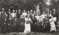 Svatba tety Anny, rodiče Čeněk a Emilie Zlámalovi ve spodní řadě vlevo