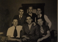 """The witness's father Emil Klem with men who were in """"total deployment"""" in Austria"""