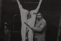 Manžel pamětnice Rostislav Jesenský při zabijačce roku 1985