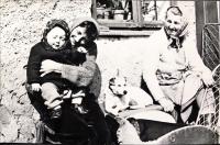 Jarmila Bartošíková with her daughter Dagmar, and a dog Asta and Aloisie Musils