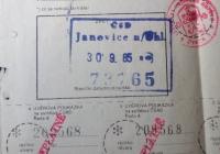 Snímek vlakové jízdenky z Janovic, z vojny směr civil