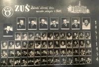 Josef Klíma ve spodní řadě třetí zleva / Závodní učňovská škola masného průmyslu v Třešti, 1953-1954