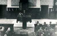 Instalace faráře Jaromíra Juna, hovoří senior Josef Beneš, evang. kostel Chleby