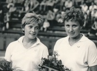 Vlasta Vopičková v roce 1963 po výhře na mistrovství republiky ve čtyřhře