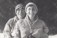 Jitka Bubeníková s manželem Josefem Bubeníkem. Rájov, 1990.