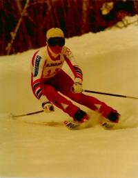 Olga Charvátová na závodech v československém dresu v roce 1984