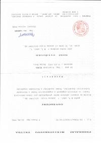 Potvrzení, že František nekolaboroval s komunisty, a tedy může kandidovat na poslance ČSFR, 1992