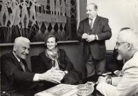 Městské divadlo Zlín, premiéra hry o T. Baťovi, zleva: Tomáš Baťa, Stanislav Tříska, Ivan Kalina, cca 1990-91, Zlín