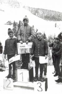 1. místo Olgy Charvátové na závodech, 1971