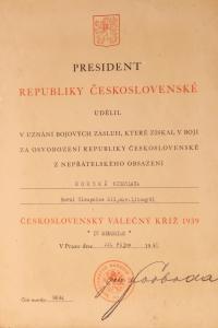 Diplom k Československému válečnému kříži 1939 - 1945 udělený Miroslavě Horské in memoriam.
