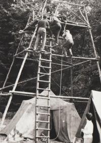 Tábor 233. oddílu ve Šluknově, strážní věž, rok 1969
