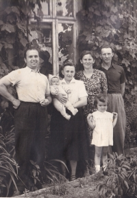 Jiřina Hajná with her husband (on the left), beginning of the 1950s