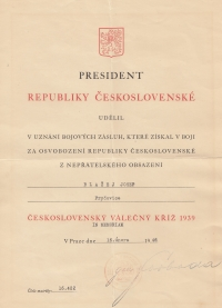 Diploma accompanying the Czechoslovak War Cross 1939 which was awarded posthumously to Josef Blažek.