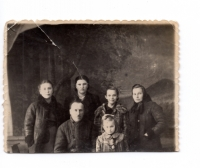 The Talanchuk-Turchenyak family after arriving at the place of special settlement, 1949