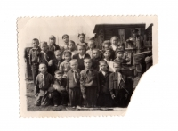 Lavrentiya Talanchuk (third right in the third row) while studying in the 2nd grade, 1953