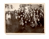 Lavrentiya Talanchuk during the New Year celebration at school, 1950s